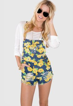 Dreamin' Sunflower Denim Overalls
