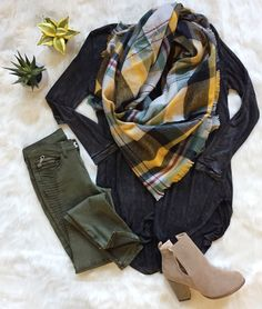 Fall Go To #OOTD   || Perfect Olive Motto Skinny Pant || || Light and Easy Special Dye Long Sleeve || || Mustard Blanket Scarf || || Only The Latest Ankle Booties ||
