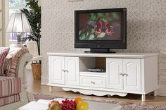 Country style white TV stand - MelodyHome.com