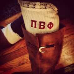 These Pi Beta Phi lace boot socks are so cute for fall!