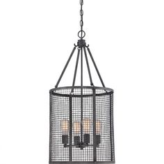 Create an eye-catching focal point in your dining room or foyer with this stylish chandelier, showcasing a cage-inspired design and steel frame....