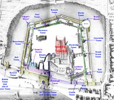 ENGLAND: LONDON: Later Medieval Tower of London Structures.  Although most of these structures have been rebuilt and restored many times.