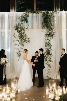 This Stylish NYE Wedding at The Metropolist Will Convince You to Ring in the New Year by Saying I Do This simple + fresh ceremony backdrop included drapped greenery + white linen Wedding Ceremony Ideas, Wedding Events, Backdrop Wedding, Wedding Ceremonies, Wedding Aisles, Wedding Notes, Outdoor Ceremony, Wedding Table, New Years Wedding