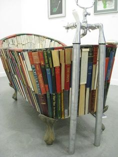 Bath tub filled with pillows to read in