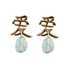 MerriJane Morrison Jewelry Love Earrings with Aquamarine Stones ($116) ❤ liked on Polyvore featuring jewelry, earrings, accessories, stone pendants, stone jewelry, stone earrings, aquamarine jewelry and aquamarine pendant