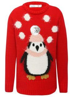 Eyelash Penguin Christmas Jumper