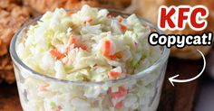 For the perfect homemade coleslaw, make this delicious Copycat KFC Coleslaw recipe. Toss together finely chopped cabbage and carrots with minced onion, buttermilk, vinegar, mayo, lemon, and a few other simple ingredients to create the best coleslaw to serve with fried chicken, barbecue, or for your next picnic or cookout. Copycat Kfc Coleslaw, Homemade Coleslaw, Copycat Recipes, Soup Recipes, Cooking Recipes, Salad Recipes, Vegetable Dishes, Vegetable Recipes, Cold Side Dishes