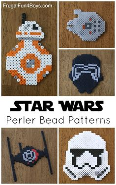 Star Wars The Force Awakens Perler Bead Patterns - Kids Crafts. BB8, Storm Trooper, First Order Tie Fighter, Millennium Falcon, and Kylo Ren