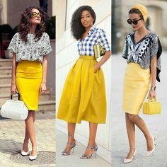 Olhem essas saias amarelas que achamos! Combinadas com peças estampadas, a peça colorida fica ainda mais linda!   Look at these yellow skirts that we found! Combined with some printed pieces, the colored skirt gets even more beautiful!  #moda #estilo #fashion #style #love #instafashion #estilo #LOVE  #yellow #skirt #amarelo #saia