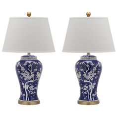 Spring H Blossom Table Lamp (Set of - Safavieh branches bursting with white flower buds adorn the classically-styled navy blue Spring Blossom table lamp. True to its roots in Asian design, this elegant urn-shaped lamp is Ceramic Urn, Table Lamp Sets, Standard Lamps, Lamp, Energy Efficient Light Bulbs, Ceramic Table Lamps, Blue And White, Lamp Sets, Blue Table Lamp