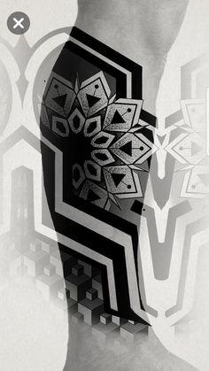 Half Sleeve Tattoos For Guys, Full Arm Tattoos, Leg Tattoos, Tribal Tattoos, Geometric Tattoo Pattern, Geometric Mandala, Pointillism Tattoo, Mangas Tattoo, Mayan Tattoos