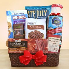 Gluten Free basket of Treats! Gluten Free basket of Treats. Delicious gluten-free foods for the gluten sensitive people in your life. Feel good knowing they can enjoy everything in this gift. Chocolate Wafer Cookies, Chocolate Dipped Pretzels, Chocolate Gifts, Coffee Gift Baskets, Gourmet Gift Baskets, Gluten Free Gifts, Gluten Free Biscuits, Gourmet Food Gifts, Organic Chocolate