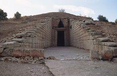 The Treasury of Atreus is a tholos (beehive) tomb at Mycenae, Greece.