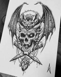 Tattoo Design Drawings, Art Drawings Sketches, Tattoo Sketches, Tattoo Designs, Gothic Tattoo, Dark Tattoo, Tattoo Art, Vampire Tattoo, Evil Tattoos