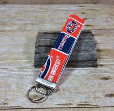 Auburn Fabric Wristlet Key Chain, Key wrist Strap, Fabric Wristlet Keychain, Wrist Key Holder, Short Lanyard, Auburn University, Tigers by twstitchanddesign on Etsy