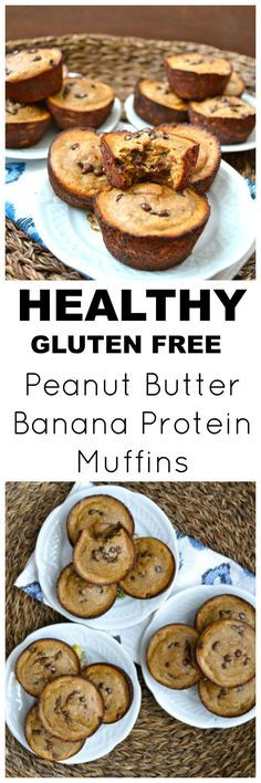Peanut Butter Banana Protein Muffins, an easy flour-less gluten free breakfast! These easy muffins are packed with healthy ingredients, the perfect way to start your day! #glutenfree #protein