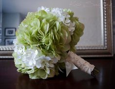 Wedding Bouquet Green and White Hydrangea Bridal by KateSaidYes