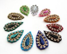 Indian Appliques.Sparkling Teardrop in 11 Gorgeous Bullion colors. Diwali. Christmas Decor.Great for making Butterfly Ba