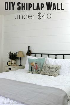 Nine Fixer Upper Style Shiplap Ideas: Great ways to add modern farmhouse charm to your kitchen, bedroom, kid's room, nursery and more! Home Renovation, Home Remodeling, Bedroom Remodeling, Girls Bedroom, Bedroom Decor, Guest Bedrooms, Bedroom Ideas, Master Bedroom, Wall Decor