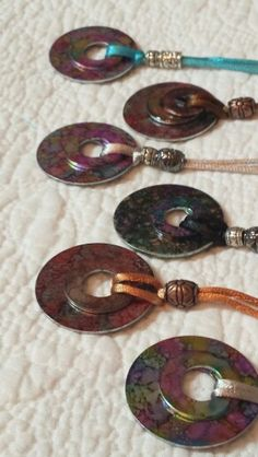 More ALCOHOL INK washer necklaces.