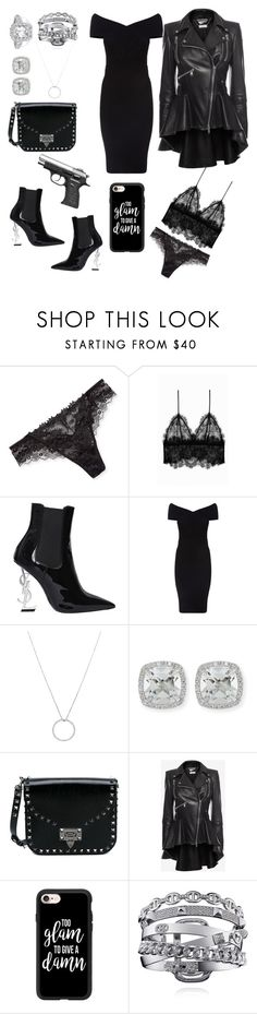 """""""Fab spy. Expensive"""" by itz-larique-duh ❤ liked on Polyvore featuring Lise Charmel, Anine Bing, Yves Saint Laurent, Maje, Roberto Coin, Frederic Sage, Valentino, Alexander McQueen and Casetify"""
