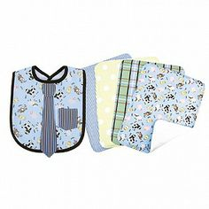 Trend Lab B and W Versailles Print Blooming Bouquet Burp Cloths Set of 4