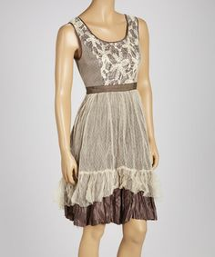 Another great find on #zulily! Cream & Brown Lace Sleeveless Dress #zulilyfinds