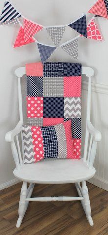 Coral pink, gray and navy blue anchors, dots, and stripes make up this adorable Fabric Bunting! ~ 11 flag Bunting Banner measures 6 feet long  ~