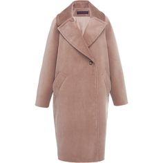 Martin Grant Corduroy Cocoon Coat (€1.465) ❤ liked on Polyvore featuring outerwear, coats, neutral, corduroy coat, cocoon coat, martin grant, long sleeve coat and brown coat