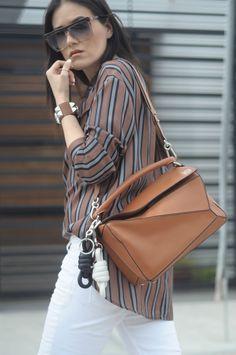 [ Lizzie Lo ]: casual·ties lizzie-lo.com/2016/04/casualties.html [vintage Laura Biagiotti sunglasses + MAC velvet teddy + HM striped shirt [ON SALE] + LOEWE puzzle bag in tan + LOEWE knot charms + Hermès collier de chien + Zara distressed jeans + MARNI flatform sandals]