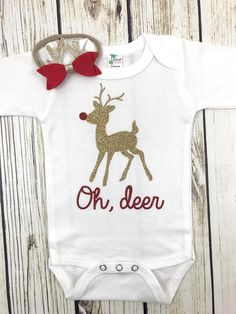 Oh Deer Baby Girl Christmas Bodysuit Outfit