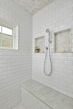 2013 Saratoga Showcase of Homes - Saratoga West Side  Blanco carrara 2 in hexagonal honed marble mosiac Walls - beveled subway tile bench- cerrera marble