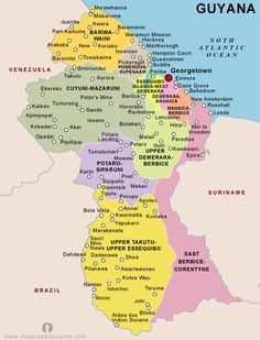 Guyana mapa south america guyana political map sciox Images