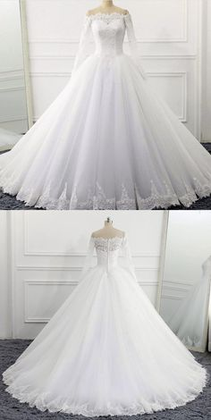Off The Shoulder Wedding Dresses Ball Gowns Long Sleeves 2018 Vintage Bridal Gowns