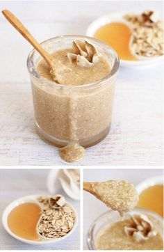 Oatmeal Honey Face Scrub - Dabbles & Babbles MY FACE FEELS AMAZING AFTER USING THIS.Only 3 ingredients in this homemade oatmeal honey face scrub that exfoliates, moisturizes and leaves your skin feeling silky smooth! Diy Face Scrub, Face Scrub Homemade, Diy Scrub, Homemade Face Masks, Homemade Skin Care, Diy Skin Care, Homemade Beauty, Diy Beauty, Beauty Tips