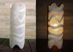Luminárias em PVC - nathinha_santos_ Pvc Pipe Crafts, Pvc Pipe Projects, Diy And Crafts, Diy Furniture For Sale, Kirigami, Creative Lamps, Drop Lights, Pipe Lighting, Creation Deco