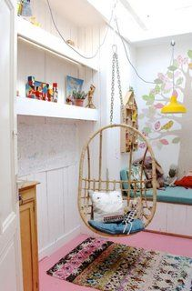 Indoor Hanging Chair for Relaxation Time and Room Decoration - Hupehome Kids Play Spaces, Scandinavian Kids, Papasan Chair, Little Girl Rooms, Fashion Room, Kids Decor, Decor Ideas, Hanging Chair, Kids Bedroom