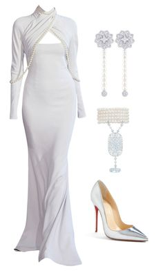 """Pearls  --- (ms)"" by ale-pink5 ❤ liked on Polyvore featuring Alexis Mabille, Louis Vuitton, Gatsby and Christian Louboutin"