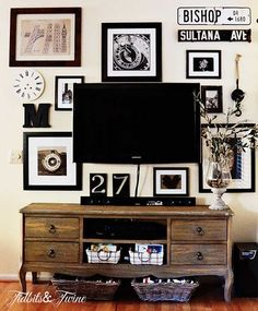 12 Awesome TV Gallery Walls | byDawnNicole.com ....... this blogger (Tidbits & Twine) did an amazing job with this Pottery Barn inspired gallery!