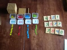 Montessori stamp game. DIY. Builds off of the golden beads once they are mastered to move kids toward abstraction.