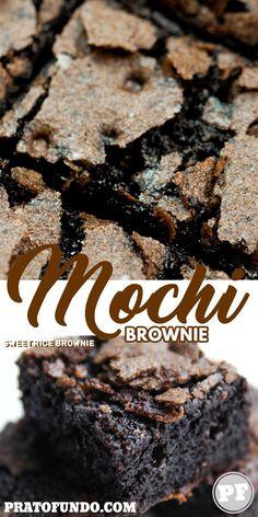 Mochi Brownie: Bolo de Chocolate com Farinha de Arroz Glutinoso por PratoFundo.com Butter Mochi, Mochi Recipe, Mini Milk, Blondie Brownies, Good Food, Yummy Food, Asian Desserts, Flour Recipes, Chocolate Brownies