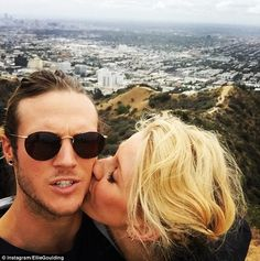 Ellie Goulding plants a kiss on Dougie Poynter during LA hike #dailymail