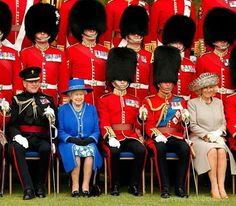 The Welsh Guards with HM The Queen, Prince Philip, Prince Charles and Camilla, Duchess of Cornwall