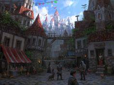 Medieval city by Lee b on ArtStation. Fantasy City, Fantasy Castle, Fantasy Places, Medieval Fantasy, Fantasy World, Fantasy Concept Art, Fantasy Artwork, Medieval Town, Medieval Castle