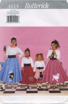 Retro Vintage Circle Skirt / Poodle Skirt Sewing Pattern | Butterick 4113 | Year 1995 | Girls' Sizes XS-L | Adult Sizes Butterick 4114