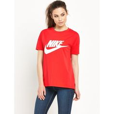 Nike Signal Logo T-Shirt ($39) ❤ liked on Polyvore featuring tops, t-shirts, red tee, retro tops, red t shirt, logo t shirts and red top
