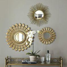 Starburst decorative accent mirror gold sunburst wall decor gold sunburst m Wall Mirrors Set, Rustic Wall Mirrors, Small Mirrors, Mirror Set, Mirror Ideas, Decorative Mirrors, Diy Mirror Decor, Mirror Vanity, Wood Mirror