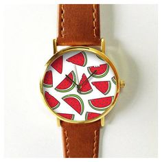Watermelon Watch 1 Vintage Style Leather Watch, Women Watches,... (21 BAM) ❤ liked on Polyvore featuring men's fashion, men's jewelry, men's watches, mens red watches, mens leather watches, mens watches jewelry and vintage style mens watches