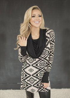 Cowl Neck Sweater Tunic Taupe/Black