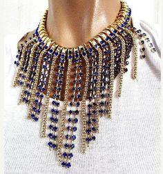 "Dangling Tassel Statement Necklace Blue Rhinestones Gold Metal Runway 18"" Vintage"